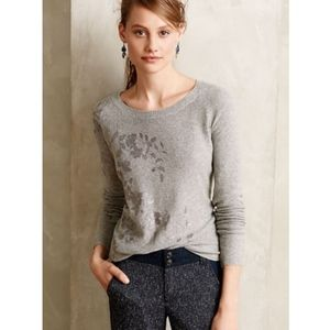 Anthro Knitted & Knotted Foil-Printed Sweater